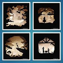 Décoration d'intérieur écologique, Gibbidy, créations en carton, luminaires en carton, découpé au laser, peterpan, alce ux pas des merveilles, roi lion, creche, noel, enfants décoration