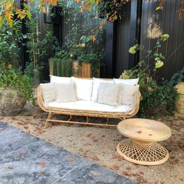 Silang sofa - peacock table - macrame cushions