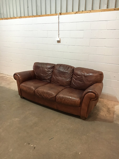 Italian brown leather lounge suite