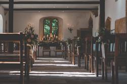 Romantic Candle Design in Altar Window