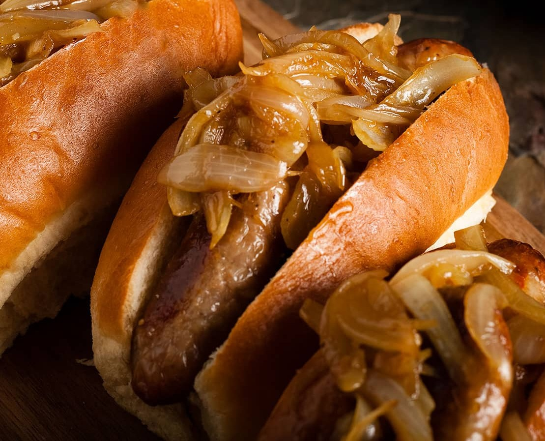 Hot dogs with Caramelised Onions
