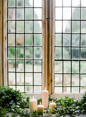 Pillar candles and Ivy