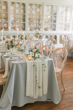Fabrics set the tone of any table, from textured tablecloths like sequins to velvet table runners, linens are a way to boost your centerpieces. They lay the foundation for whatever you are adding on top.