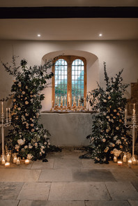 Altar Window: Asymetrical Design with Candelabras and Lanterns