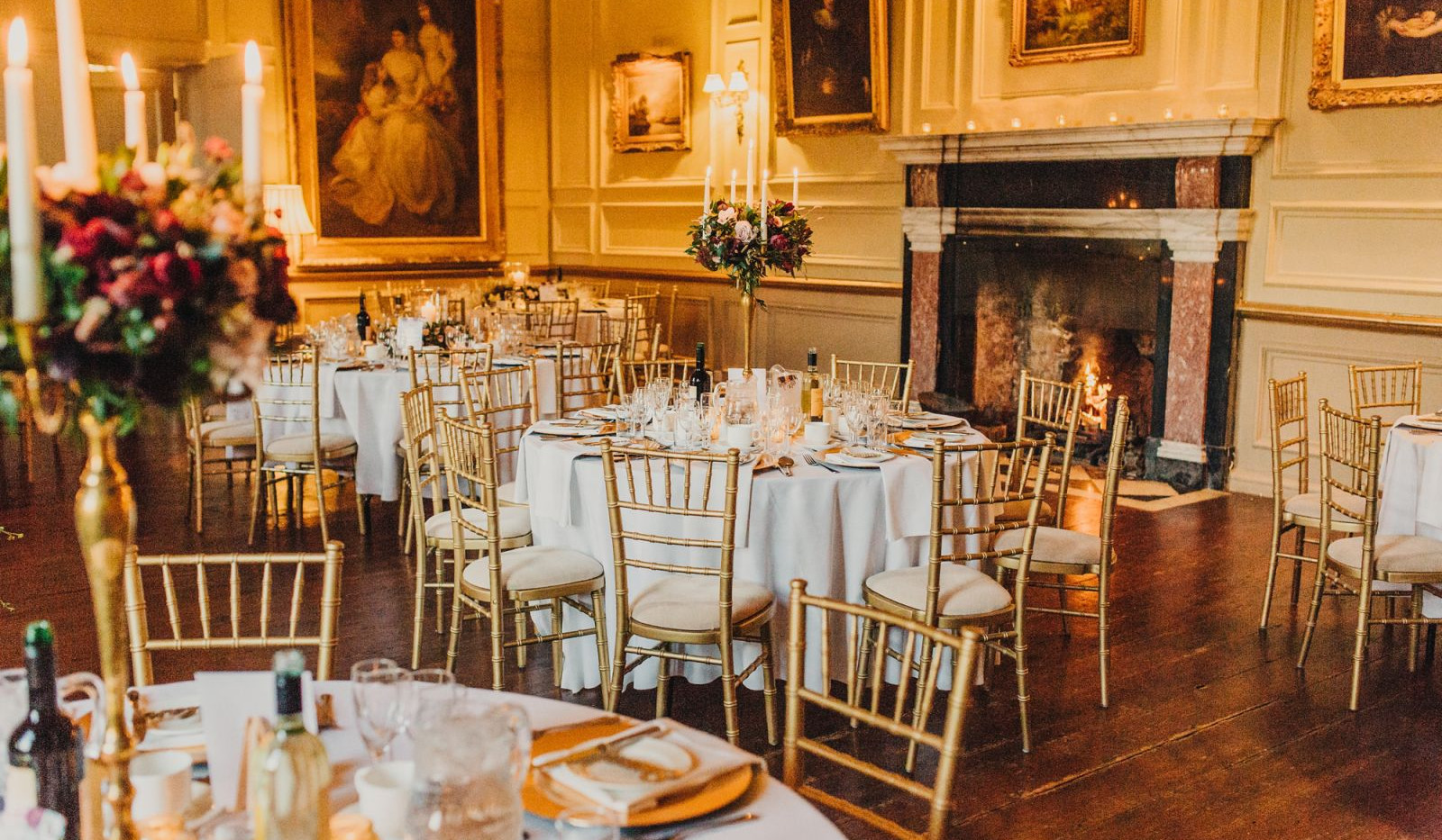 The Salon makes a beautiful dining space for Winter weddings