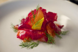 Home Cured Beetroot Gravalax with a Horseradish and Sour Cream Dressing