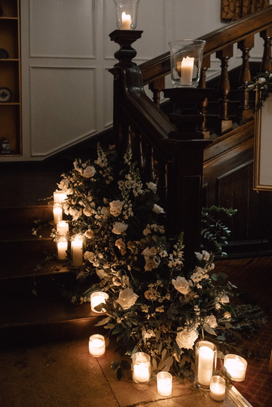 Foliage and Flowers dressing the base of the stairs