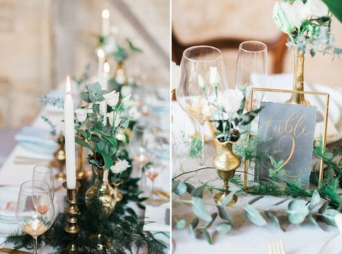 Candle centerpieces supply a romantic atmosphere, for weddings all year round. This whimsical centerpiece is so pretty, and works particularly well in the Salon or on banqueting tables in the Ballroom