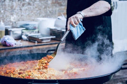 Classic paella with chicken, prawns, saffron & lemon