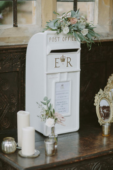 Postbox for cards sat up on Entrance table, alongside guestbook