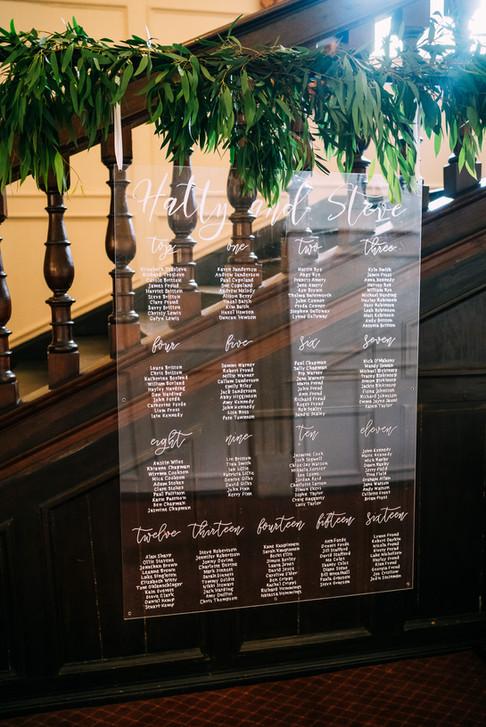 Acrylic table plan