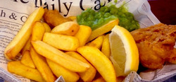 Fish & Chips: Mini baskets of fish goujons with lemon wedges, tartare sauce and thick cut chips