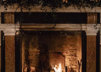 The Salon has a roaring open fire