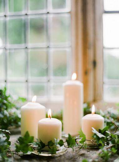 Collection of church pillar candles