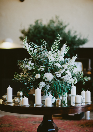 Flower display on central table