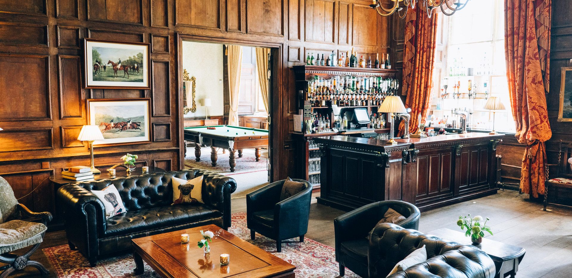 The Library Bar opens from Midday for 2 hours prior to the ceremony. It is opened in conjunction with the Morning Room