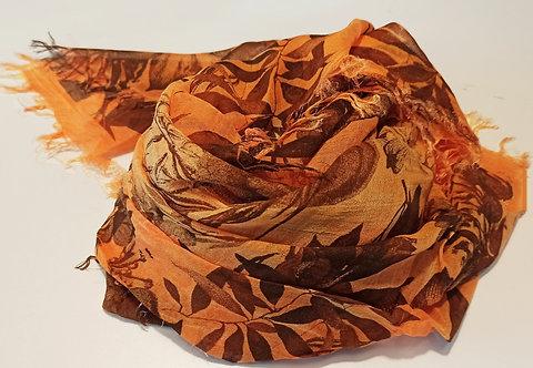 Foulard in Bamboo art. Brown Flowers