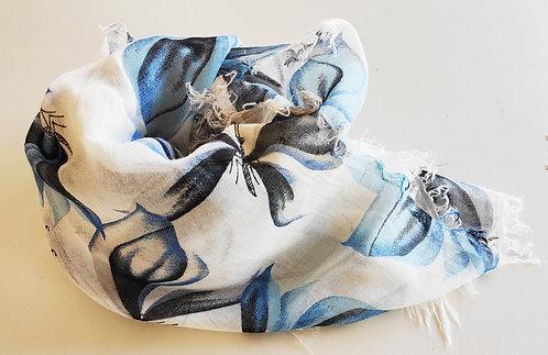 Foulard in Bamboo art.Blu Butterfly