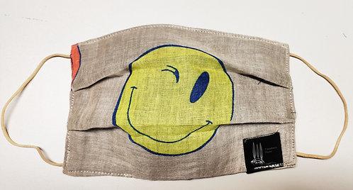 Cover copri mascherina Bamboo e lino Yellow smile