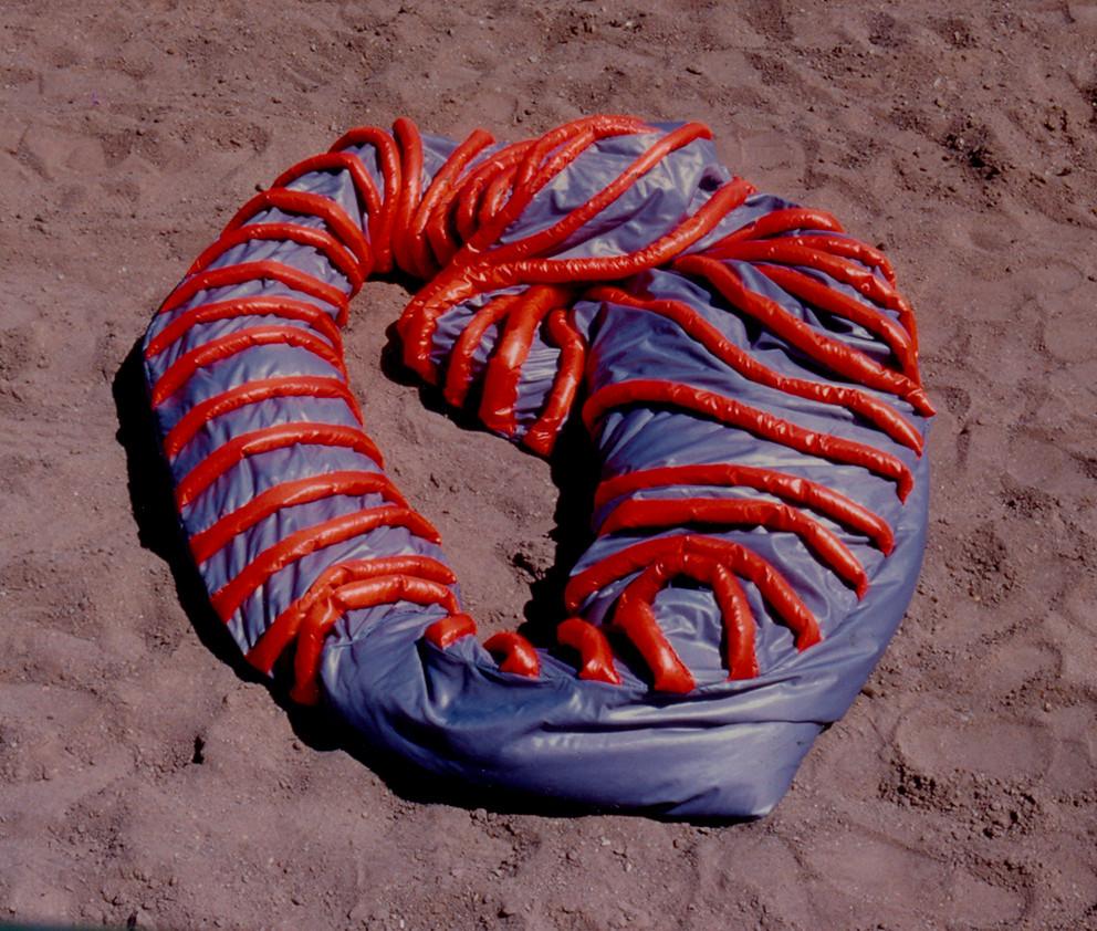 Tetê Barachini. Desobjeto Ovalin  (1991). Tecido sintético e poliuratano expandido. 2.70x1.70x0.40m (aproximadamente). Foto: João Mussolin