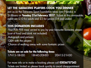 Saracens Sport Foundation takeover Nandos!