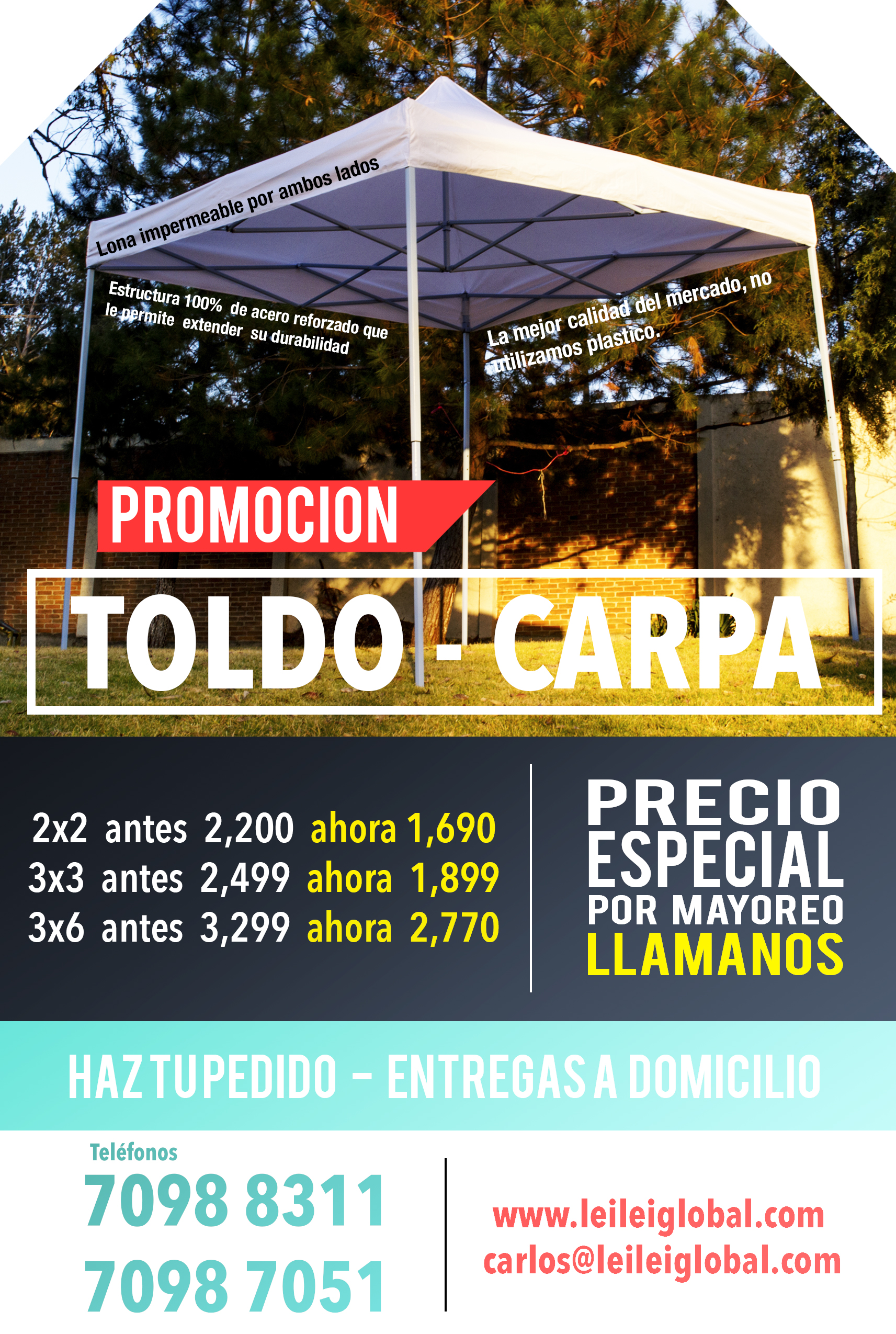 Toldo carpa plegable impermeable