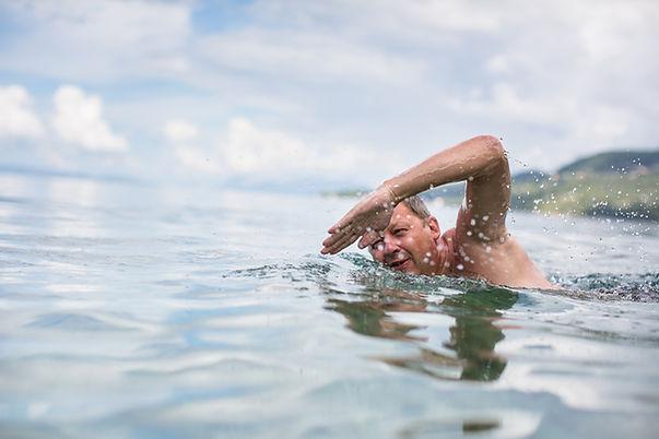 Swimming laps in the sea