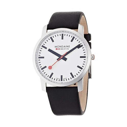 MONDAINE Simply Elegant, 41 mm, black leather watch