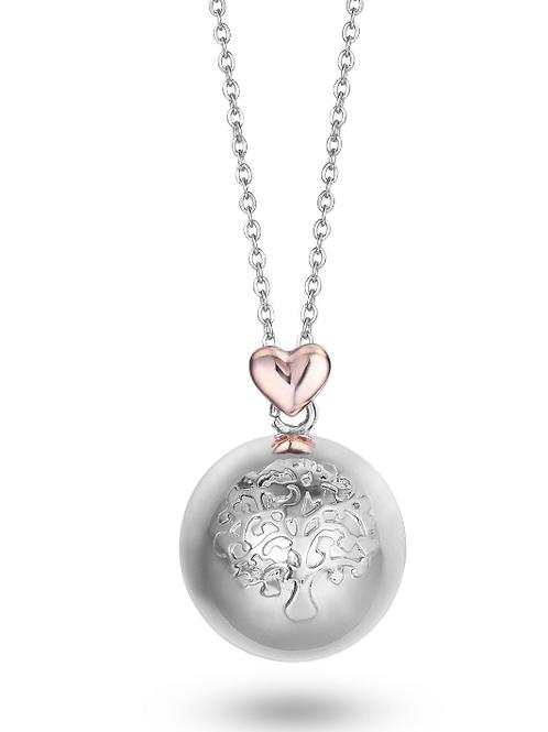 Collana in acciaio, sfera in metallo con Albero della Vita e cuore rosé