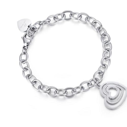Bracciale in acciaio con cuori con cristalli bianchi