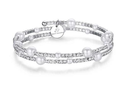 Bracciale in metallo con perle sintetiche bianche e cristalli bianchi