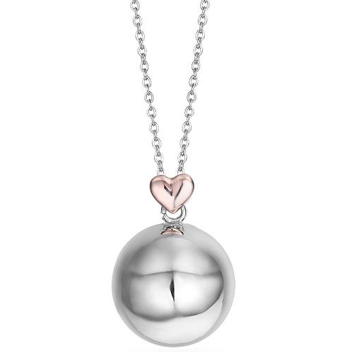 Collana in acciaio, sfera in metallo con cuore rosé
