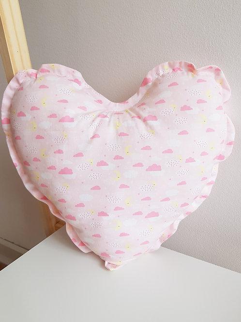 Almofada Coração Nuvem Rosa