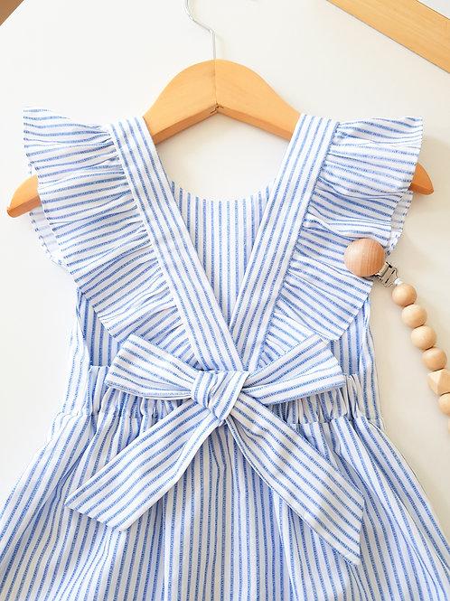 Vestido com Laço Listrado Azul