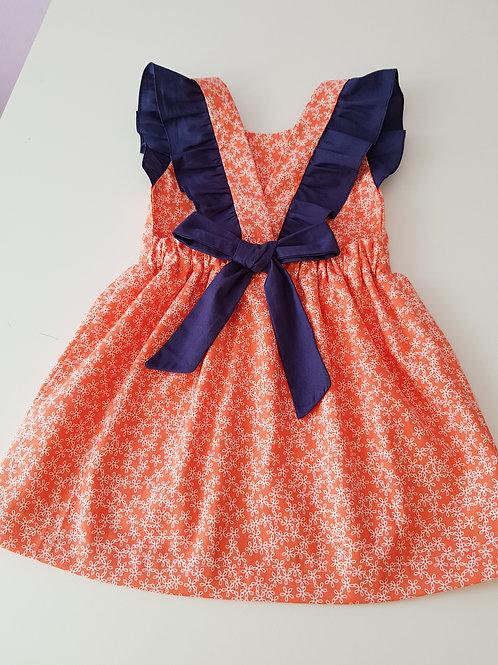 Vestido com laço Laranja & Azul