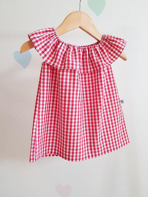 Vestido gola com babado xadrez vermelho