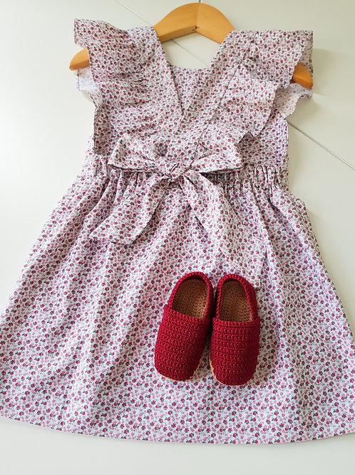 Vestido com laço Rosinhas Carmim