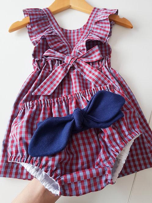 Vestido com Laço Xadrez Vermelho&Azul
