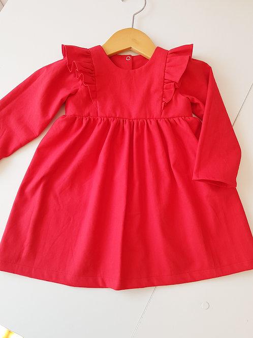 Vestido manga longa flanela vermelha
