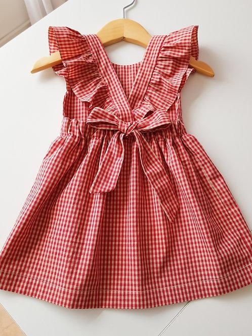 Vestido com laço xadrez vermelho