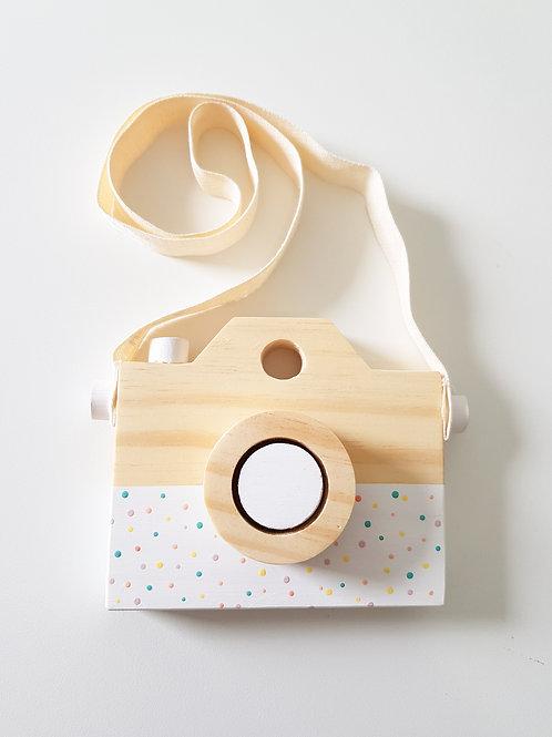 Câmera de madeira Bolinhas