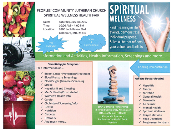 Peoples' Community Lutheran Church Spiritual Wellness and Health Fair