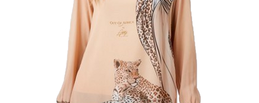 Blouse with Woman and  Leopard