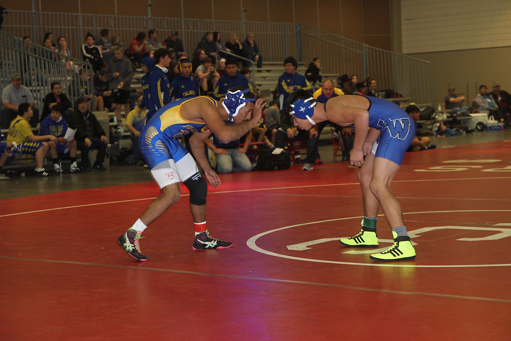 Dean Buchanan lost a tough match to a wrestler from Little Wound but showed some big-time promise for the Falcon wrestling team