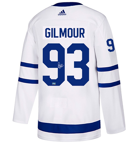 GILMOUR Maple Leafs Autographed Adidas Authentic Men's Away Jersey (White)