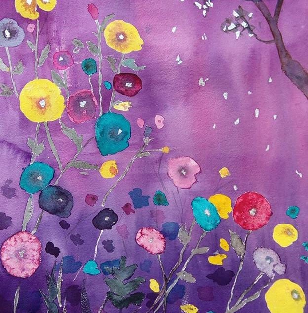 kukkaniitty yöllä/ a flower meadow at night