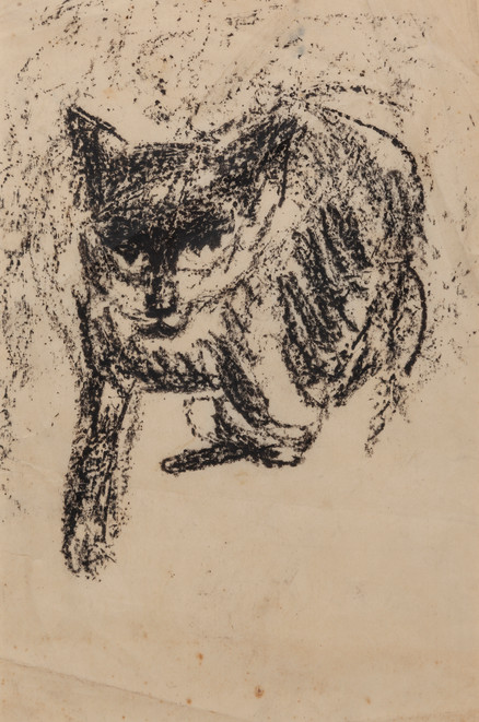 CHARLES BLACKMAN (1928-2018) Moggy, 1952 charcoal on paper 29 x 19cm