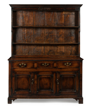 A George III oak Welsh dresser, dated 1779