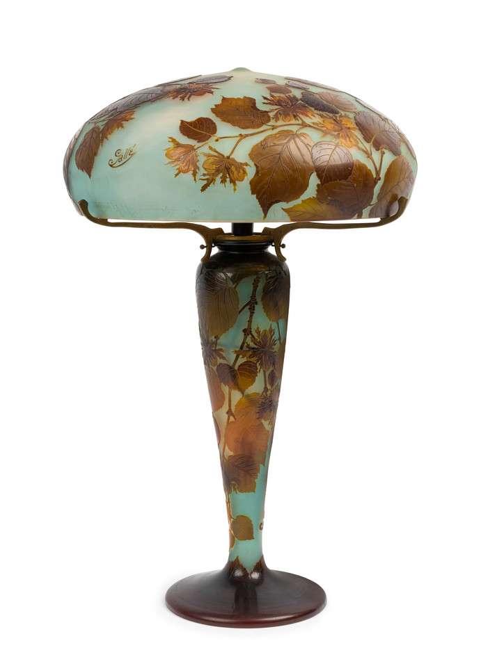 Émile Gallé (1846-1904) A rare and important 'Noisette' table lamp, circa 1910