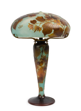 Émile Gallé (1846-1904) A rare and important 'Noisette' table lamp, circa 1910
